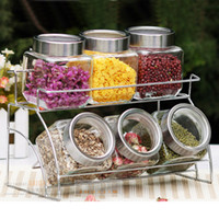 glass canister set - Home glass storage jar set food canister flavorfully bottle large double layer shelf