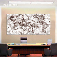 Cheap Free Shipping Map Of The World Canvas Prints Modern Oil Painting Picture Printed On Canvas Q713 50X75CM