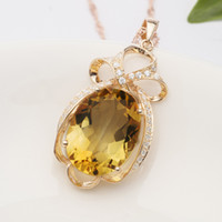 Pendant Necklaces Other farming Other patterns 925 silver -plated 18K rose gold with natural citrine pendant jade jewelry jade jewelry necklace female