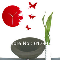 Wholesale Fashionable And Elegant Red Plastic Butterfly Wall Clock Decor Home Art Design Modern Style Time Wall Clock