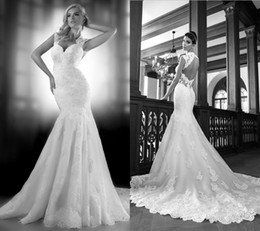 Exquisite 2014 Best-selling New Sexy Sweetheart Tulle Lace Mermaid Wedding Dresses Applique Backless Wedding Dress Court Train Bridal Dress