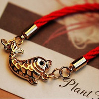 Cheap Ethnic Chinese auspicious fish fish every year red string bracelet wholesale jewelry accessories Lucky