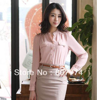 Women Polyester Polo New Arrival Blouses Women Chiffon Solid Shoulder Mark Long Sleeve V-neck Tops Vestidos 2 Colors S-XXL Freeshipping 01071