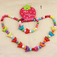 Cheap Handwork children Kids Cute Wood Beads Necklace & Bracelet one set #K0392