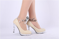 Wholesale 3 Colors Beautiful CM Bridal High Heels Shoes Wedding Bridesmaid Shoes Rhinestone Party Shoes IT Size