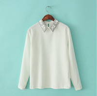 Wholesale 2014 NWT Spring Ladies Stylish Europea style The embroidery Pattern Long Sleeve CHiffon Blouses
