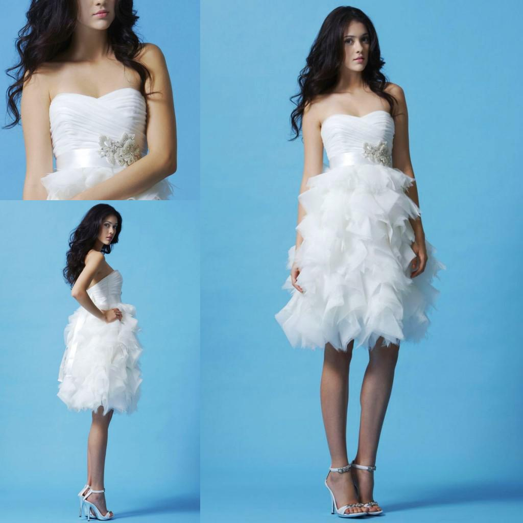 Best Selling 2014 Ruffle Short Country Wedding Dresses