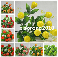 Wholesale NEW cm quot Artificial Plants Simulation Red Berries Orange Apple Pomegranate Mango Pear Peach Green Apples Twelve Fruits Per Bush