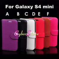 Wholesale For Galaxy S4 mini Litchi Wallet PU Flip Leather Case Cover With Credit Card Slot Pouch For Samsung Galaxy S4 mini i9190