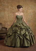 Fashion A- line Strapless Taffeta Applique Custom- made Ball G...