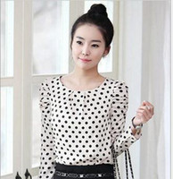 Cheap 2014 Spring New Arrival Women White Long Sleeve Polka Dot Tops Chiffon Blouse M L XL XXL MY2-5