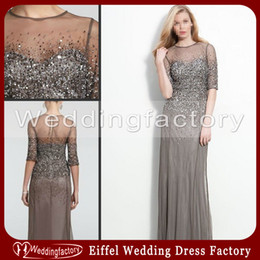 Wholesale 2014 Luxurious Mesh Tulle Mother of the Bride Groom Dresses Silver Grey A Line Sheer Neck Sequins Evening Dress with Half Long Sleeves