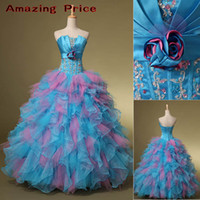 Wholesale SD078 New Us Size To In Stock Prom Evening Gowns Quinceanera Dresses With Ball Gown Strapless Lace Up Beads Ruffles Real Sample