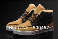 Cheap 2012 Men's fashion winter sneakers plush wool Skateboard shoes Brand leather leisure high-top outdoor boots black brown 40-44