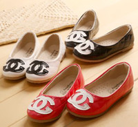 Wholesale 2014 Hot Children Casual Shoes Kids Footwear Girls Shoes Child Double C Dress Shoes Black Red White Flat Shoes Classical Girls ShoesB2786