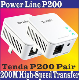 Wholesale Tenda P200 Pair PowerLine Adapter Extender mbps wired connection Shortcut Key Power Line Network Adaptor No Color Pacakge Box