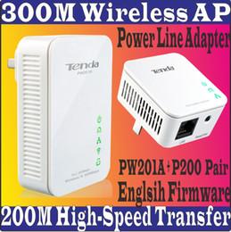Wholesale Englsih Firmware Tenda PW201A P200 Pair Wireless Powerline Adapter Extender WIFI hotspot mbps Shortcut Key Ethernet Network Adaptor
