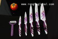 Wholesale Everrich color knife set set DECAL Printing Ceramic coating blade carving knife utility knife paring knife
