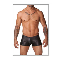 Men Nylon Boxers & Boy Shorts Free Shipping Men's Sex Black Leather Latex Boxer Trunks Underwear,Male Lingerie,Sexy Boxer Shorts C22