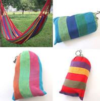 Wholesale Hot Sales Colorful Stripe Relax Garden Outdoor Camping Casual Portable Hammock Indoor Canvas Strap Fit Tourism Hunting