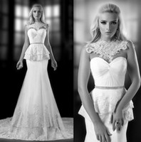 beautiful collars - Beautiful New High Necks Sexy Backless Mermaid Wedding Dresses Tulle and Lace Applique Beaded Wedding Dress Ivory White Bridal Gowns