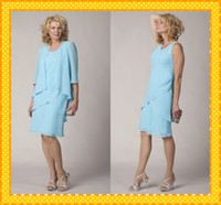 mother of the bride sequin dresses - 2016 Light Blue long Sleeves With Jacket Knee length Mother of the Bride Groom Dresses Evening Formal Dress Gowns New