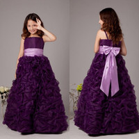 Wholesale Charming Floor Length Flower Girls Dresses Elegant Princess Pageant Gowns Purple Taffeta Wedding Dresses for Kids with Lanvender Sash