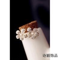 Gold, silver genuine diamond earrings - South Korea imported genuine diamond flower earrings earrings small female Korean jewelry simple fashion temperament New