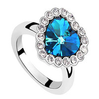 Wholesale Heart of the ocean Ring Sapphire cluster rings high quality charm jewelry wedding ornament ring gift