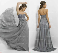 2014 Grey A Line chiffon Evening Dresses Sweetheart crystal ...