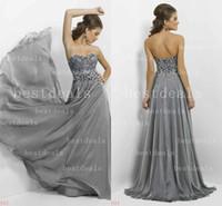 2014 Grey A Line chiffon Evening Dresses Sweetheart crystal ...