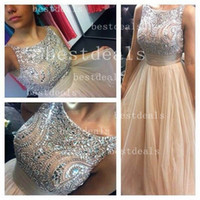 2014 Sexy Evening Dresses Gowns A- Line high neck Beaded Crys...