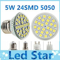 Cheap LED 5W 24 SMD 5050 GU10 E27 E14 MR16 Led Bulbs Lights 120 Angle LED Spotligt Ceiling Saving Lamp Warm Cool White 110V 220V 12V