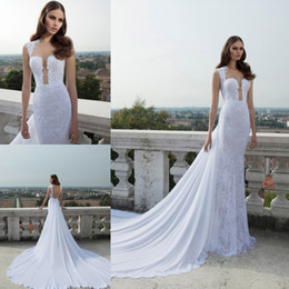 Wholesale HQ Unique Model White Chiffon A line Bridal Gowns See Through Corset Buttons Cathedral Train Wedding Dresses