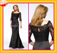 Wholesale 2016 Fashion High Quality Lace Sleeves Mother Of The Bride Groom Dresses DressSquare Neck Sheath Satin Black Ruffles Evening Forml Gown