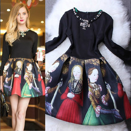 Wholesale 2014 New Arrival Women s Beaded O Neck Long Sleeves Vintage Printed Patchwork Ball Gown Runway Dresses