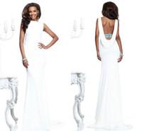 Cheap 2014 Tarik Ediz White Sheath Greek Goddess Wedding Evening Dresses Fashion Bateau Neckline Cowl backless Formal Gala Party Gowns Sale Price
