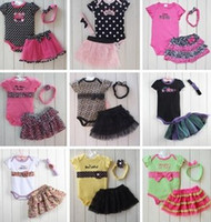 Girl Summer  16 Styles Hot Baby Kids 3pcs Clothes Romper + Tutu Skirt + Headband Set Fashion Leopard Dots Skull Lace Tutu Outfits Children Romper B2788