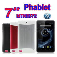 Wholesale New Inch phablet MTK6572 Dual Core G WCDMA Phone Call Tablet pc Android Dual SIM Webcam Wifi Bluetooth GPS MID MB GB Free DHL