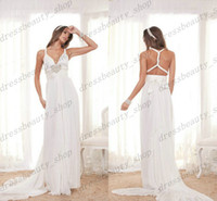 Cheap 2014 Anna Campbell Backless Chiffon Beach Wedding Dresses White Sheath Greek Goddess V-Neck beaded Sweep Train Cheap Custom Made Party Gowns