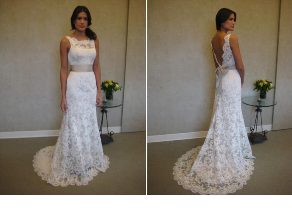 Elegant 2014 New Arrival Sheer Lace High Neck Wedding