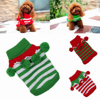 Wholesale Lovely Knit Cotton Pet Dog Clothes Christmas Sweater Warm Puppy Apparel With Plush Ball Colors Choose DMA