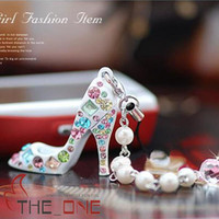 Wholesale Phone Bag Charm High Heels Shoe KeyChain Phone Bag Charm Color EMS FREE TO AUS