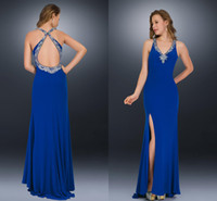 back drop - HQ Hot Sales V neck New Pageant Gowns Criss cross Straps With Beaded Open Low Back Drop Shipping Prom Dresses