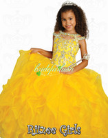 Wholesale 2014 Custom made Purple amp Yellow kids ball gowns Orange Bateau Ruffles Shining Beading Crystal Flower Girl Pageant Dresses