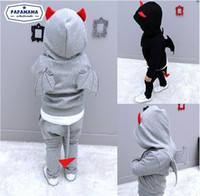 Spring / Autumn baby devil suit - Baby Children Autumn Small Devil Wings Sets Kids Cartoon Wings Suits Children Hoodie Pants Baby Tracksuit Casual Kids Outfits