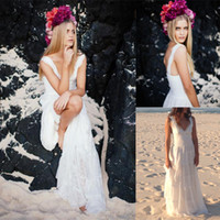 Cheap 2014 Bohemian Beach A-Line Wedding Dresses Boho Bridal Gown With Romantic Sheer Straps V-Neck Backless Lace Ruched Floor-Length Sku B08