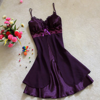 Wholesale Cheap Women Sexy Silk Lingerie Lace Sleepwear Nightdress Robes Lace Gowns Sleep Gowns Night Gowns Ladies Sexy Night Underwear