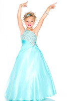 Wholesale Elegant Little Girls Pageant Prom Gown One Shoulder With Beadings Sky Blue Tulle Flower Girls Pageant Dresses