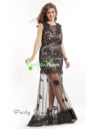 Wholesale 2014 New Hot Black Elegant Applique Jewel Sleeveless Sheath Floor Length Lace Sheer Back Plus Size Evening Dress Prom Gown Formal Dress